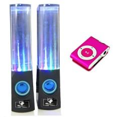 Bộ loa nhạc nước 3D (Đen) + Máy nghe nhạc MP3 vỏ nhôm PeepVN Combo61 (hồng)