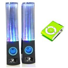 Bộ loa nhạc nước 3D (Đen) + Máy nghe nhạc MP3 vỏ nhôm PeepVN Combo65 (xanh lá mạ)