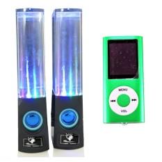 Bộ loa nhạc nước 3D (Đen) + Máy nghe nhạc MP4 PeepVN Combo26 (Xanh lá)