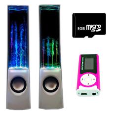 Bộ Loa nhạc nước 3D (Trắng) + Máy nghe nhạc MP3 LCD dài (Hồng) + Thẻ nhớ 8GB PeepVN Combo115
