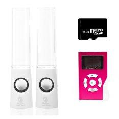 Bộ loa nhạc nước 3D (Trắng) + Máy nghe nhạc MP3 LCD vuông (Hồng) + Thẻ nhớ MicroSD 8GB Gia Khang Phát Combo41