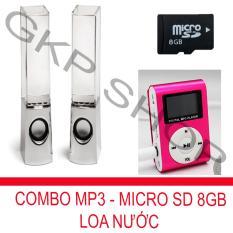 Bộ loa nhạc nước 3D (Trắng) + Máy nghe nhạc MP3 LCD vuông (Hồng) + Thẻ nhớ MicroSD 8GB PeepVN Combo41