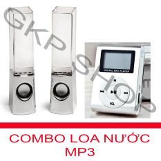 Bộ Loa nhạc nước 3D (Trắng) + Máy nghe nhạc MP3 LCD vuông PeepVN (Bạc)