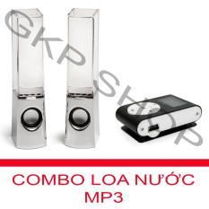 Bộ Loa nhạc nước 3D (Trắng) + Máy nghe nhạc MP3 LCD vuông PeepVN (Đen)