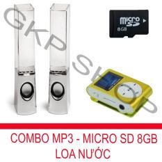 Bộ loa nhạc nước 3D (Trắng) + Máy nghe nhạc MP3 LCD vuông (Vàng) + Thẻ nhớ MicroSD 8GB PeepVN Combo42