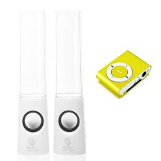 Bộ loa nhạc nước 3D (Trắng) + Máy nghe nhạc MP3 vỏ nhôm Gia Khang Phát Combo72 (Vàng)