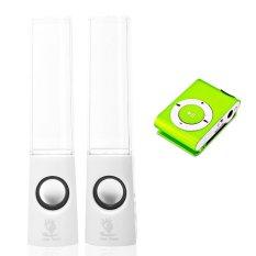Bộ loa nhạc nước 3D (Trắng) + Máy nghe nhạc MP3 vỏ nhôm Gia Khang Phát Combo74 (xanh lá)