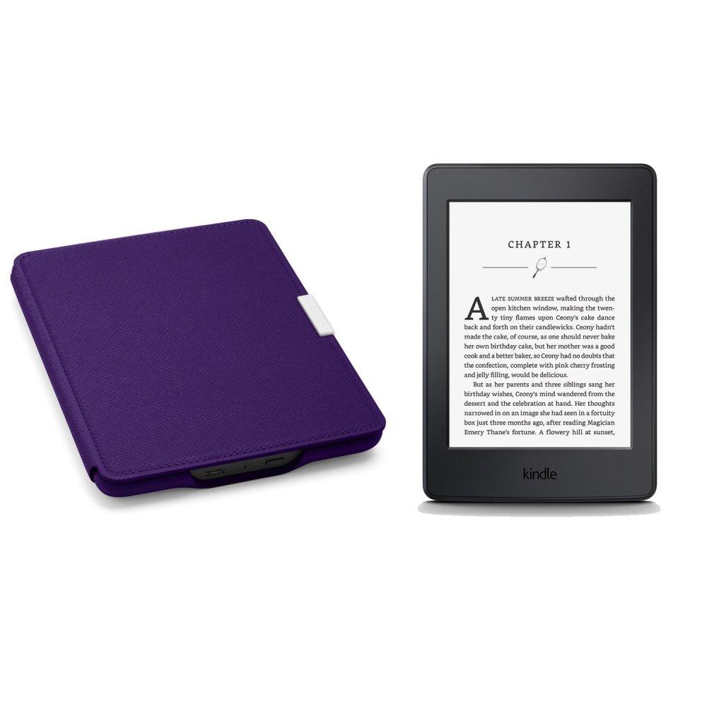 Bộ máy đọc sách Kindle paper AMAZON 2017 (Đen) và Bao da Kindle Paperwhite 2017 (Tím) - Hàng nhập khẩu