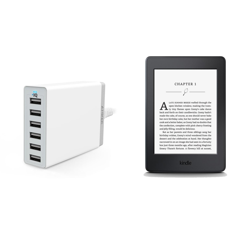 Bộ máy đọc sách Kindle paper AMAZON 2015 (Đen) và Sạc 6 cổng USB Anker 60W (Trắng) - Hàng nhập...