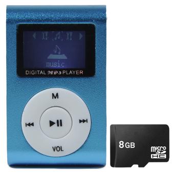 Bộ Máy nghe nhạc MP3 có màn hình LCD (Xanh dương) và Thẻ nhớ 8GB