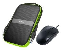 Bộ Ổ cứng di động 3.0 Silicon Power A60 1TB và chuột quang Genius NetScroll 110X (Đen xám)