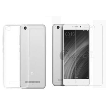 Bộ ốp lưng silicon Xiaomi Redmi 4A (Trắng) + Kính cường lực 2.5D ( Trong)