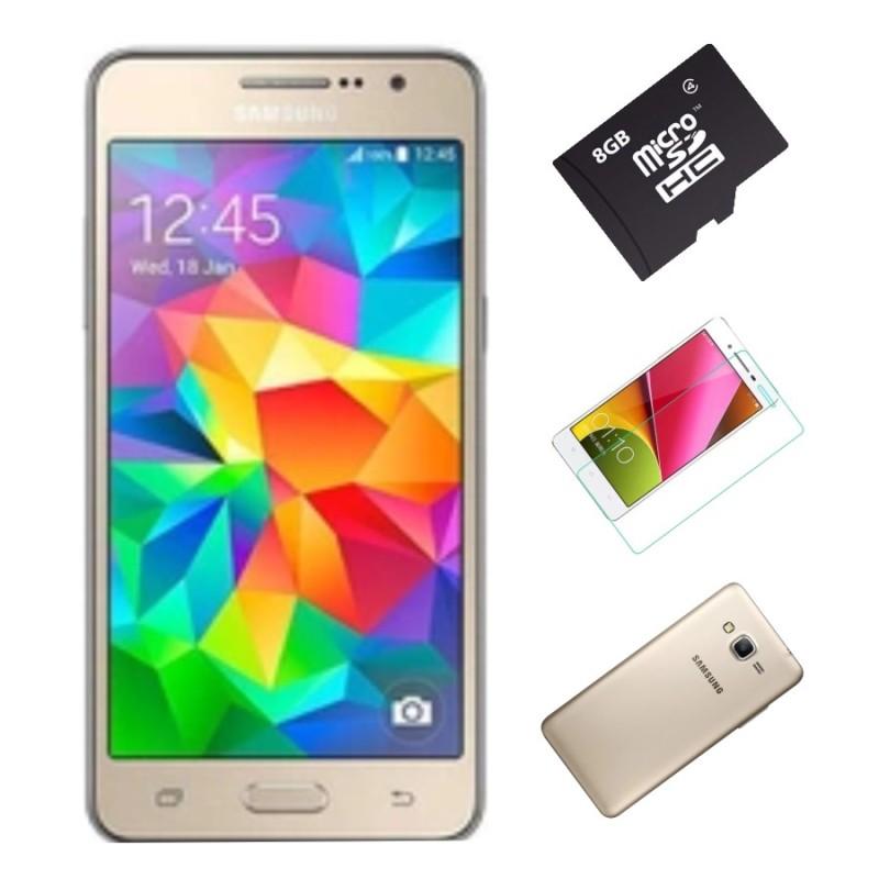 Bộ Samsung Galaxy Grand Prime G530 8GB (Vàng) - Hàng nhập khẩu + Thẻ nhớ 8Gb + Ốp lưng silicon+ Dán cường lực