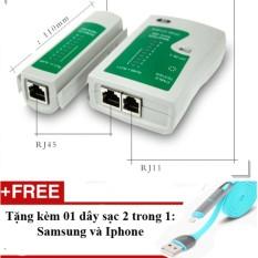 BỘ TEST CÁP MẠNG RJ45 RJ11 USB GIÁ RẺ + Tặng 01 dây sạc điện thoại 2 trong 1