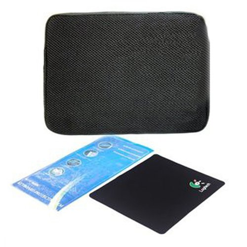 Bộ túi chống sốc + dán bàn phím + miếng lót chuột 14 inch (Đen)