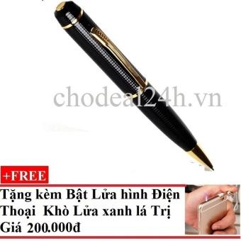 Bút viết camera HD vỏ sần (Vàng phối đen) + Tặng Bật Lửa Điện Thoại