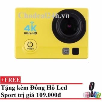 Camera hành động Waterproof ACTION CAMERA WIFI MultiPurpose 4K ULTRA HD (Vàng)++ Tặng Đồng hồ Leb Sport