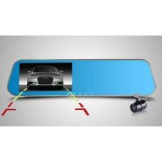 Camera Hành Trình Tích Hợp Gương Chiếu Hậu 2017 Cao Cấp Có Vạch Kẽ Đường (Xanh)