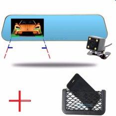 Camera hành trình tích hợp kính chiếu hậu và camera lùi có vạch kẽ đường cao cấp + ngăn lưới để điện thoại ô tô