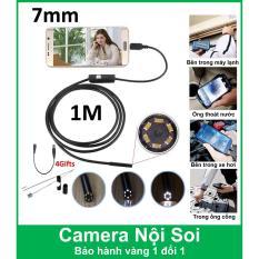 Camera nội soi 7mm – dài 1m cho điện thoại và máy tính (Đen) – Chống nước IP67