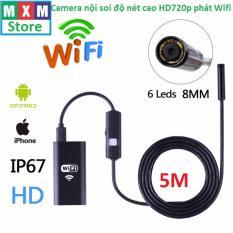 Camera nội soi độ nét cao HD720p phát Wifi dây dài 5m cho điện thoại Iphone,Android,Laptop,PC