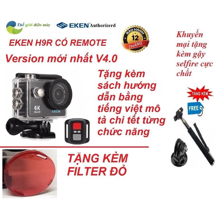 Camera thể thao 4K wifi Eken H9R có remote version mới năm 2018 Ver.4.0 tặng kèm gậy selfire và kính lọc đỏ