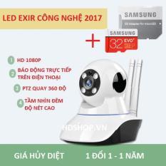 Camera wifi giám sát trong nhà Siêu nét Full HD 1920x1080p Mới nhất 2018 – Kèm thẻ Samsung EVO 32G hoặc 32G Ultra Sandick bảo hành 5 năm