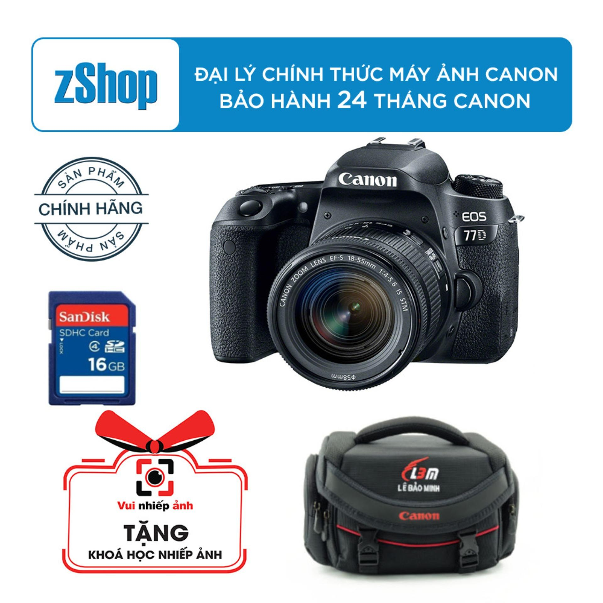 Canon 77D với lens kit EF-S 18-55mm F/4-5.6 IS STM – Chính hãng Lê Bảo Minh + Tặng khoá học nhiếp ảnh EOS + Thẻ nhớ 16GB + Túi máy ảnh