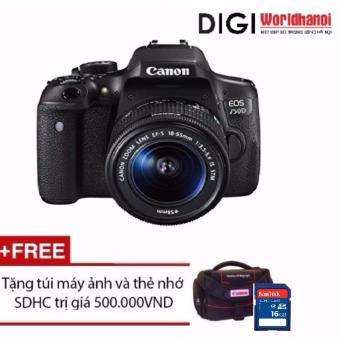Canon EOS 750D 24.2MP và lens Kit 18-55mm IS STM (Đen) - Hãng phân phối chính thức + Tặng 1 thẻ nhớ 16GB và 1 túi đựng máy ảnh