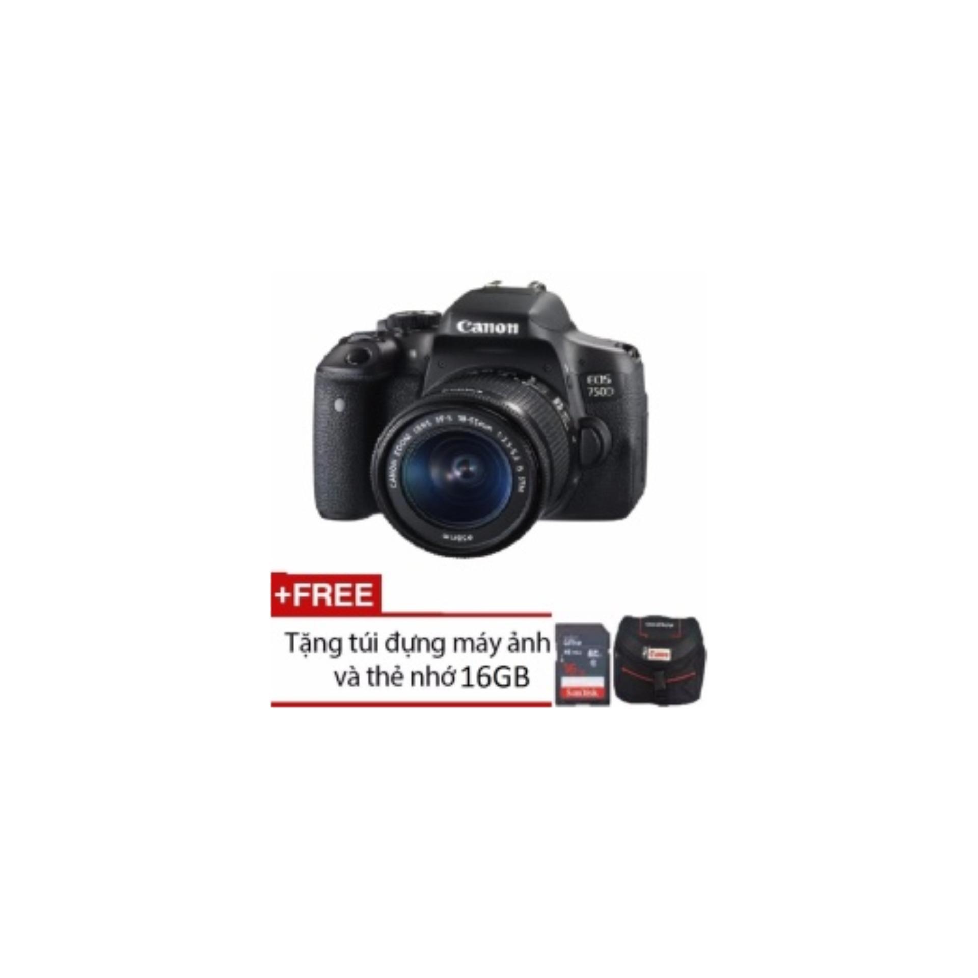 Canon EOS 750D 24.2MP và lens Kit 18-55mm IS STM (Đen) + Tặng 1 thẻ nhớ 16GB và 1 túi đựng máy ảnh