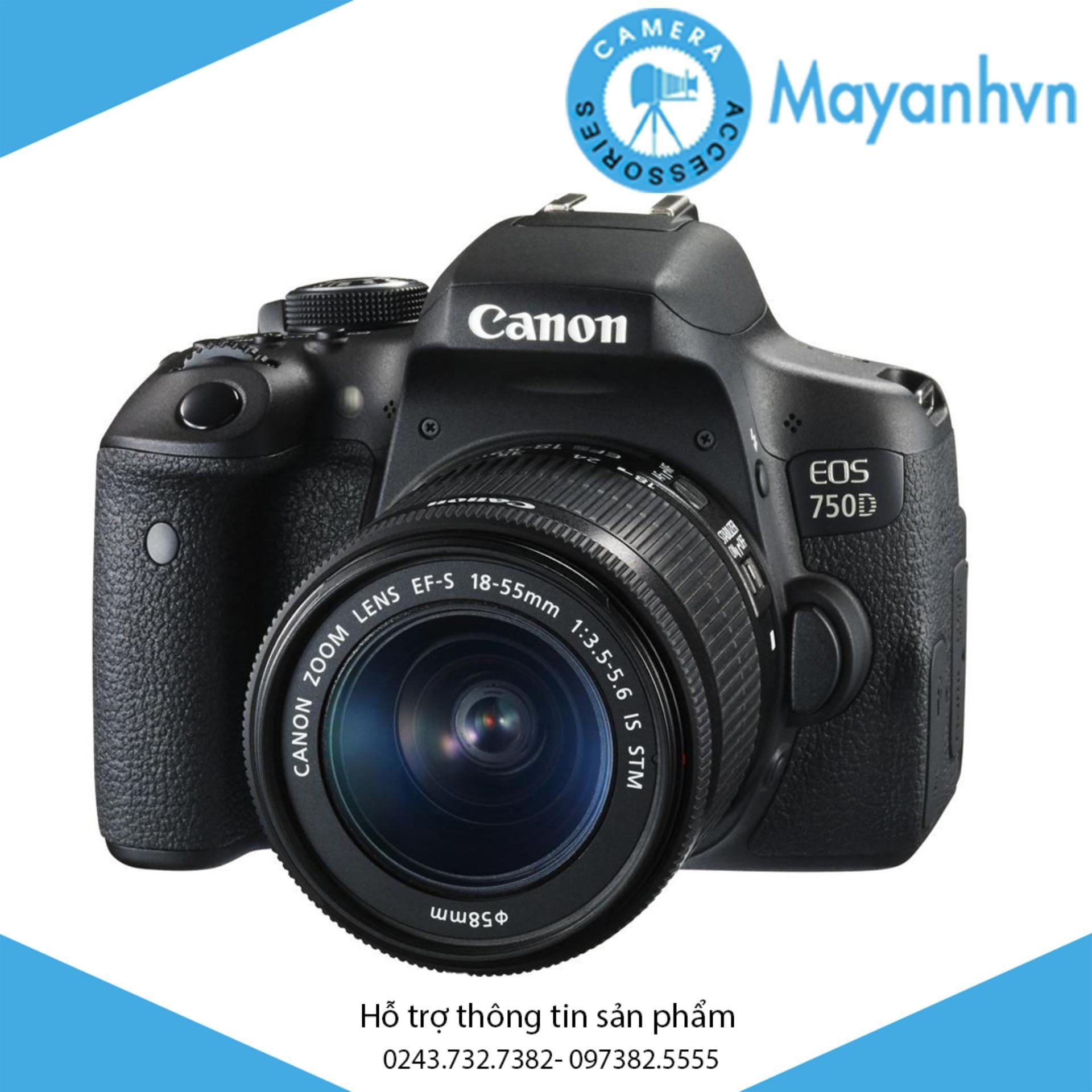 Canon EOS 750D 24MP với Lens kit EF-S 18-55 IS STM (Đen) + Tặng kèm 1 túi đựng máy ảnh + Tặng kèm 01 thẻ nhớ 16GB – Hãng phân phối chính thức
