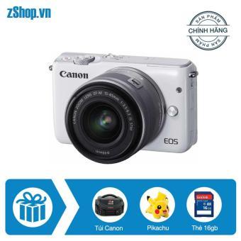 Canon EOS M10 18MP kèm lens kit EF-M 15-45mm F 3.5-6.3 IS STM (Trắng) – Chính hãng Lê Bảo Minh + Tặng Khoá học nhiếp ảnh EOS + Pikachu + Thẻ SD 16gb + Túi