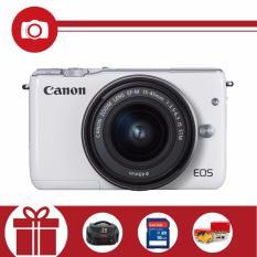 Canon EOS M10 18MP với Lens kit 15-45mm (Trắng) (Hãng phân phối chính thức) – Tặng thẻ nhớ SD 16GB, túi đựng máy, Pikachu nhồi bông