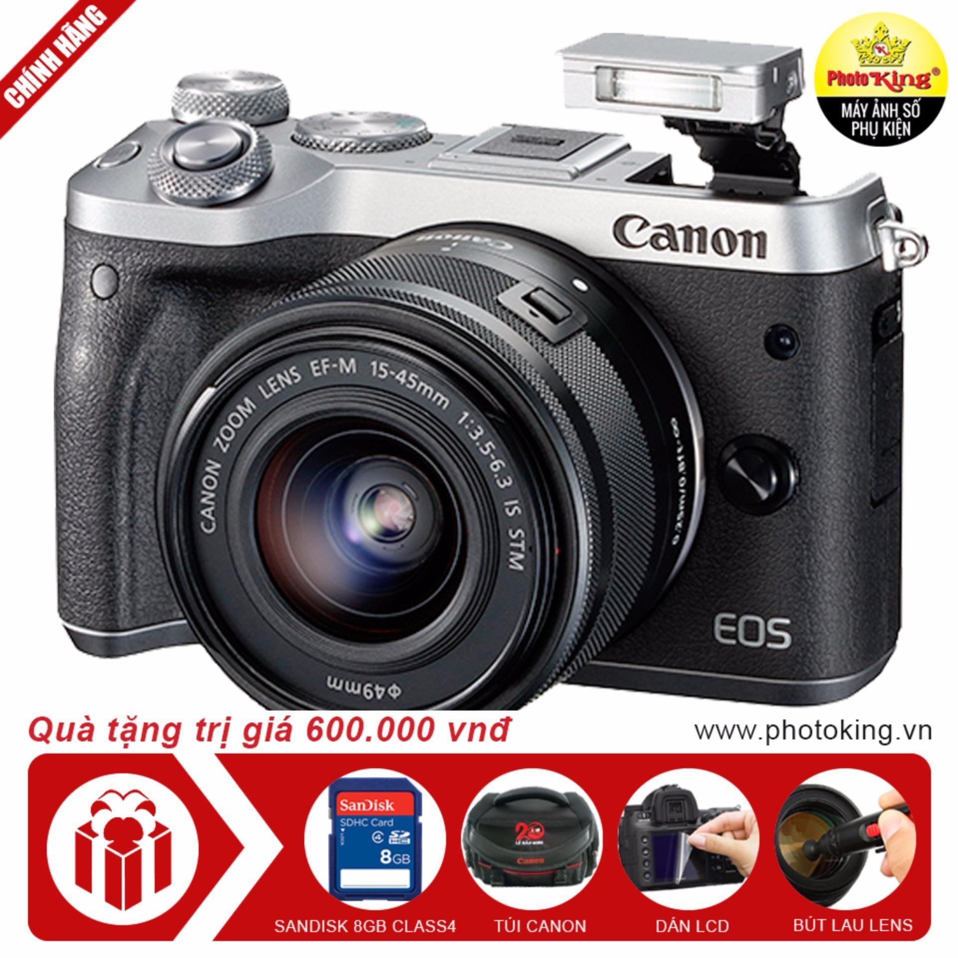 Canon EOS M6 với lens kit EF-M 15-45mm f/3.5-6.3 IS STM (Bạc) +Tặng 1 túi đựng máy ảnh + 1 thẻ nhớ 8GB + dán màn hình + bút lauống kính - Hãng phân phối chính thức