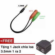 Cáp chia Audio 3.5 ra Mic và Loa tặng kèm 1 Jack loa 3.5 1 ra 2