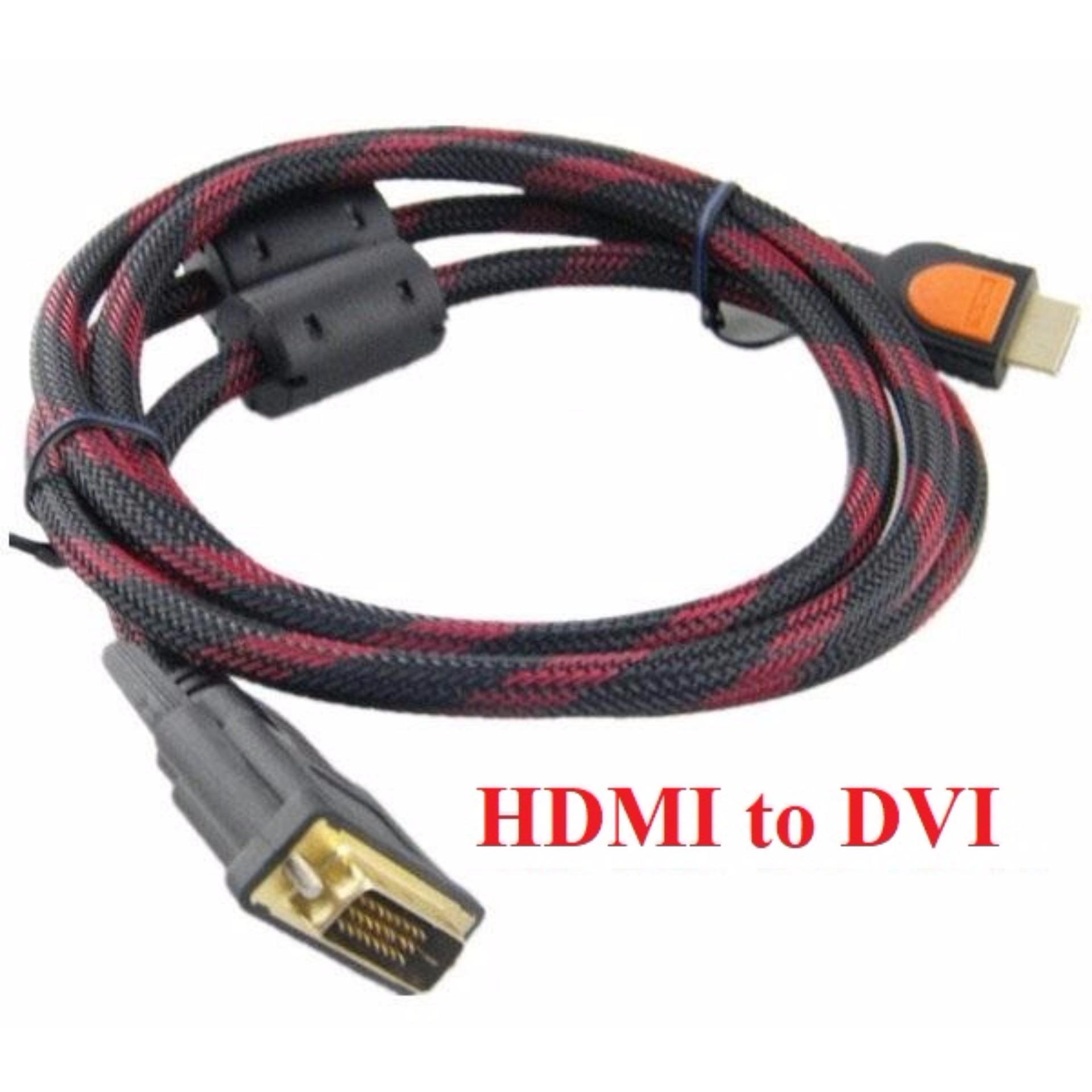 Cáp chuyển đổi HDMI sang DVI bọc lưới chống nhiễu Full HD 1.5m (Đen Đỏ) giá rẻ