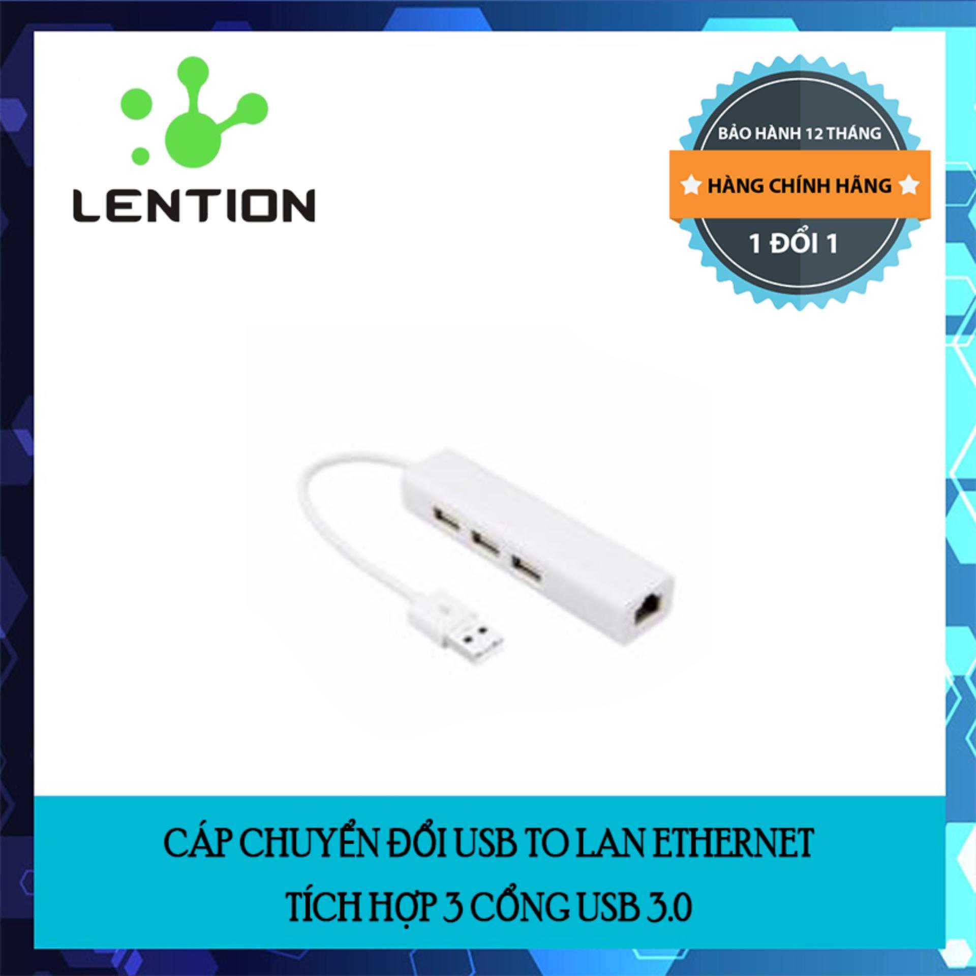 Cáp chuyển đổi USB to LAN Ethernet tích hợp 3 cổng USB 3.0 chính hãng Lention