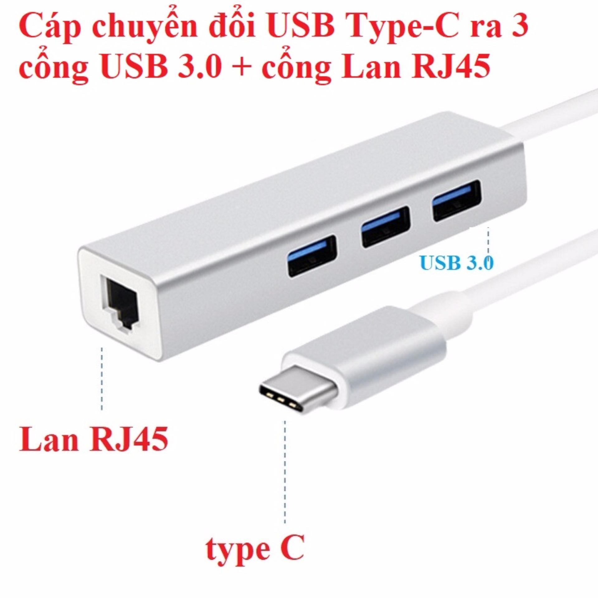 Cáp chuyển đổi USB Type-C ra 3 cổng USB 3.0 + cổng Lan RJ45 vỏ hợp kim nhôm