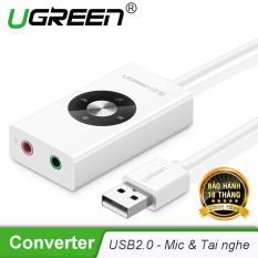 Cáp chuyển USB 2.0 sang 2 cổng 3.5mm (Mic và Tai nghe) UGREEN 30448 – Hãng phân phối chính thức