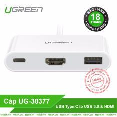 Cáp chuyển USB Type C sang HDMI + USB 3.0 Ugreen 30377 cho Macbook
