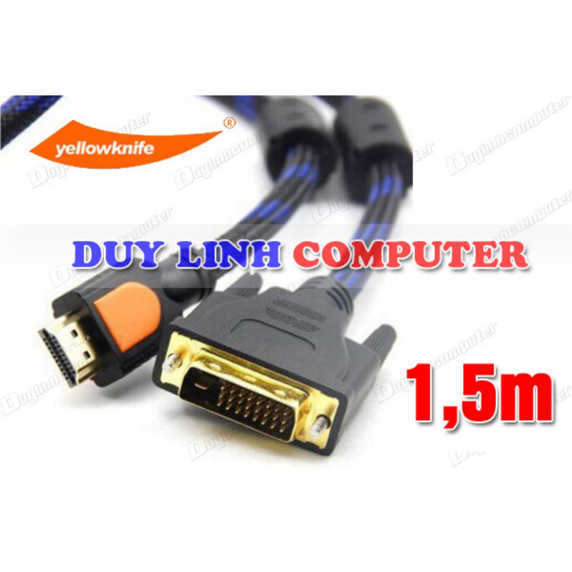 Shop bán Cáp HDMI to DVI dài 1.5m YellowKnife giá chỉ 110.000₫