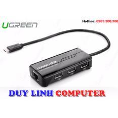 Cáp USB 3.1 Type C to Lan và 3 cổng USB 2.0 Ugreen 30289(Đen)