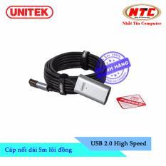 Cáp nối dài USB Unitek Y-271 5m lõi đồng – hỗ trợ tương thích ngược (Đen) – Hãng phân phối chính thức