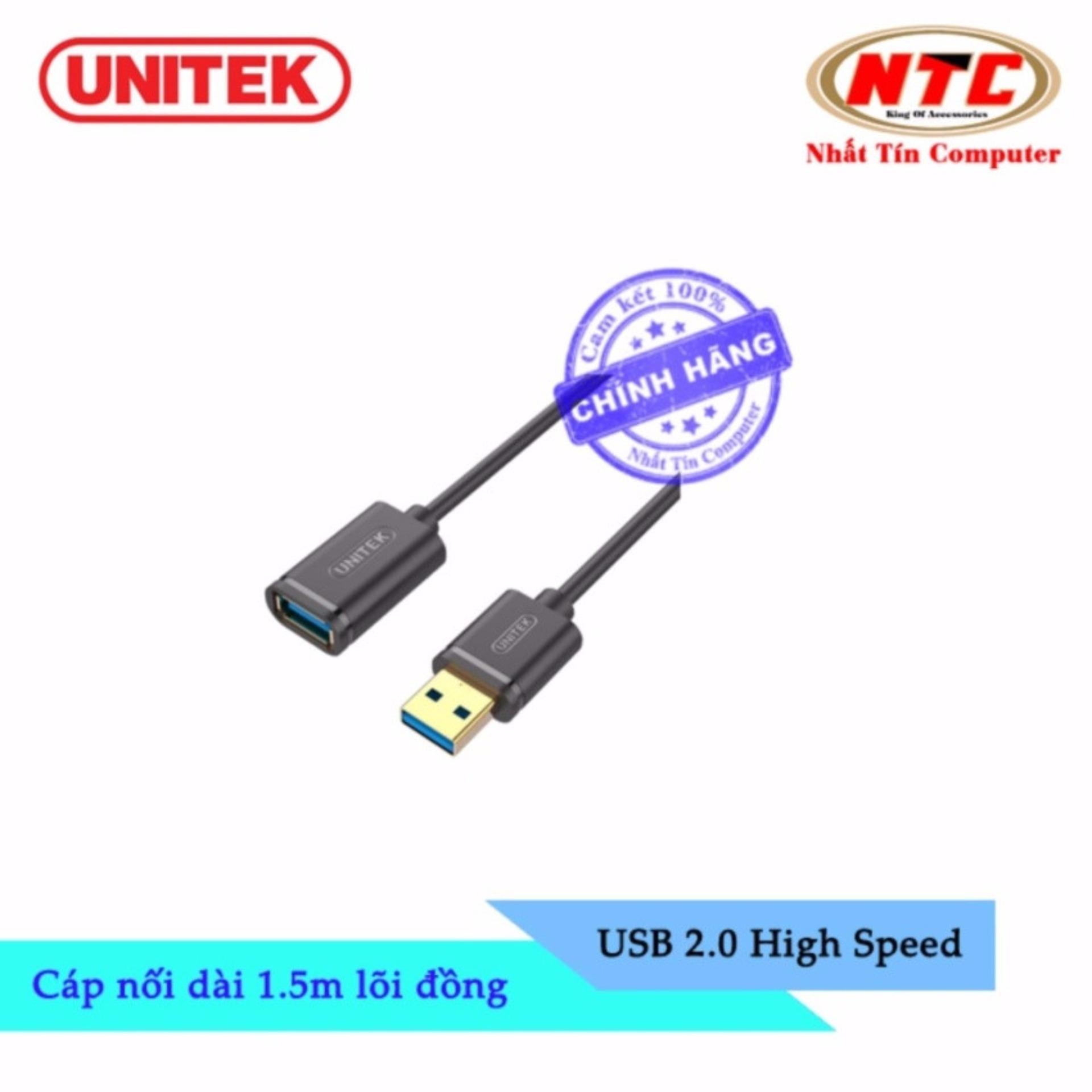 Cáp USB nối dài 2.0 Unitek Y-C 449GBK - dài 1.5m (Đen) - Hãng phân phối chính thức
