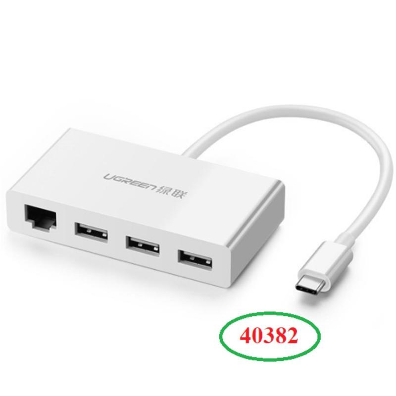 Bảng giá Cáp USB Type C Ugreen 40382 ra 3 cổng USB 3.0 và 1 cổng Lan 10/100Mbps cao cấp Phong Vũ