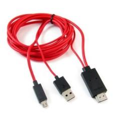 Cáp xuất hình ảnh từ điện thoại ra tivi MHL 5pin (Đen phối đỏ) – Cable MHL to HDMI – Kết nối Smartphone lên TV sợi cáp dài 2 mét (Đen phối đỏ) AB5