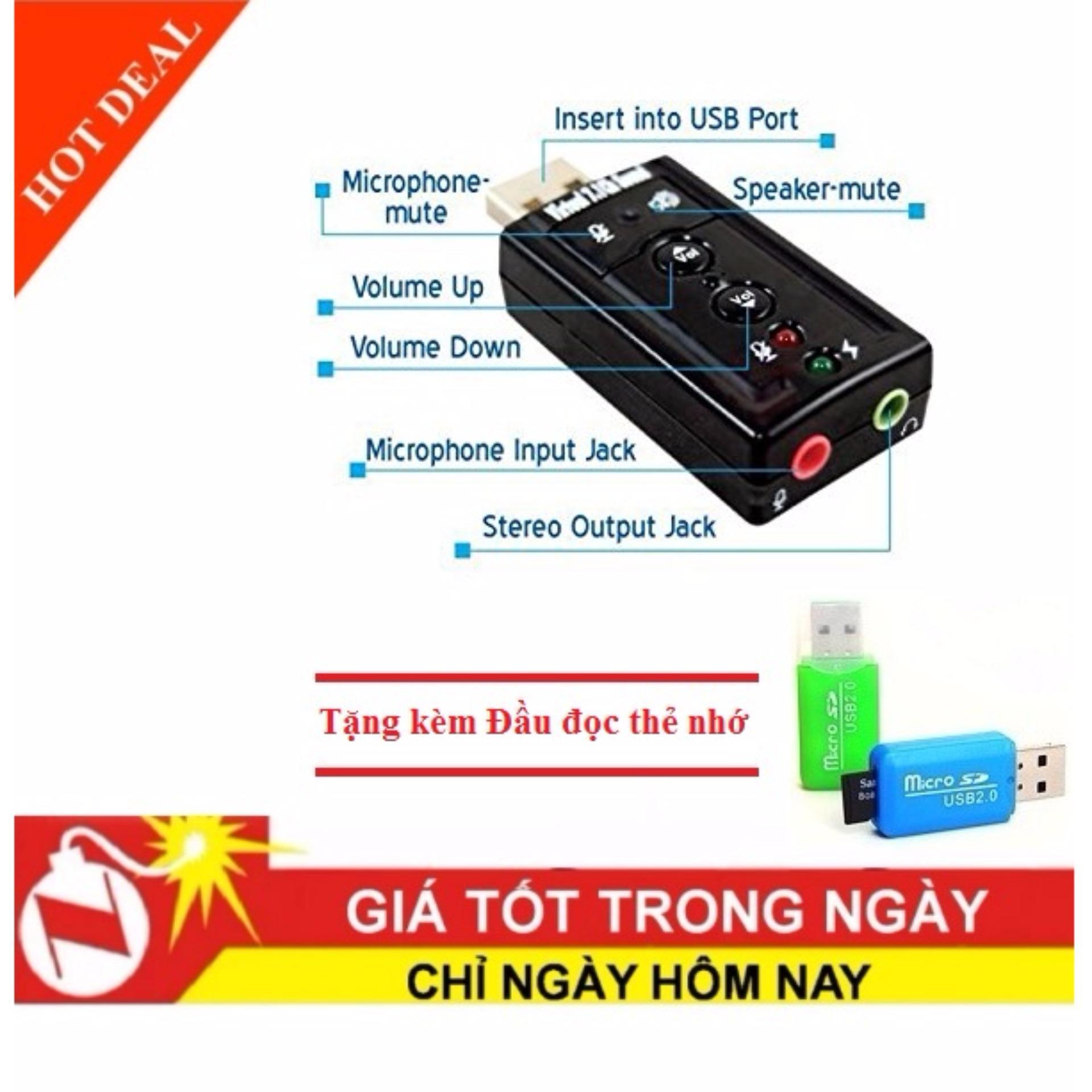 Báo Giá Card sound âm thanh 3D Taiwan 7.1 + Tặng kèm Đầu đọc thẻ nhớ
