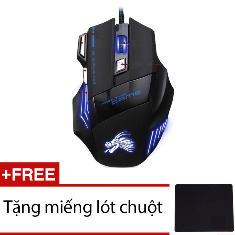 Chuột chơi game có dây Dragon X3 (Đen phối xanh) + Tặng miếng lót chuột