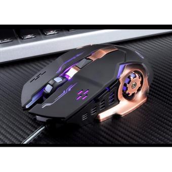 Chuột game thủ cực bền thiết kế độc lạ có LED nhiều màu (Đen Đồng)