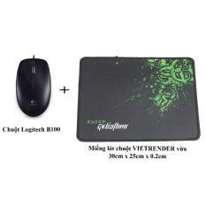 Chuột Logitech B100 + Miếng lót chuột VIETRENDER vừa